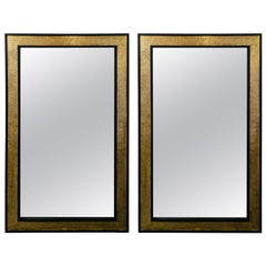 Hollywood Regency Brass over Ebonized Wood Filigree Pier or Wall Mirror, a Pair