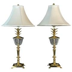 Hollywood Regency Brass Pineapple Table Lamps, Pair
