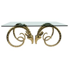 Hollywood Regency Brass Ram Head Dining Table in the manner of Alain Chervet