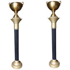 Hollywood Regency Brass Roman Column Torchiere Floor Lamp