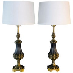 Hollywood Regency Brass Stiffel Table Lamps, Pair