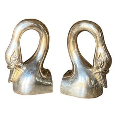 Hollywood Regency Brass Swan Bookends, A Pair