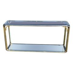 Hollywood Regency Brass Two-tiered Console Table