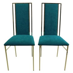 Hollywood Regency Brass and Velvet Dinning Chairs, 1970s, Italy