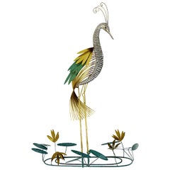 "Hollywood Regency Brass Wall Sculpture ""Silver Heron"" Bird by Curtis Jere"