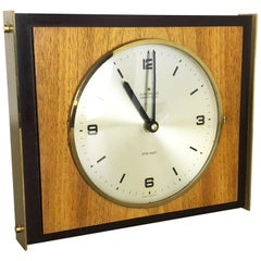 Hollywood Regency Brass Walnut Brass Table Clock Junghans Electronic Germany