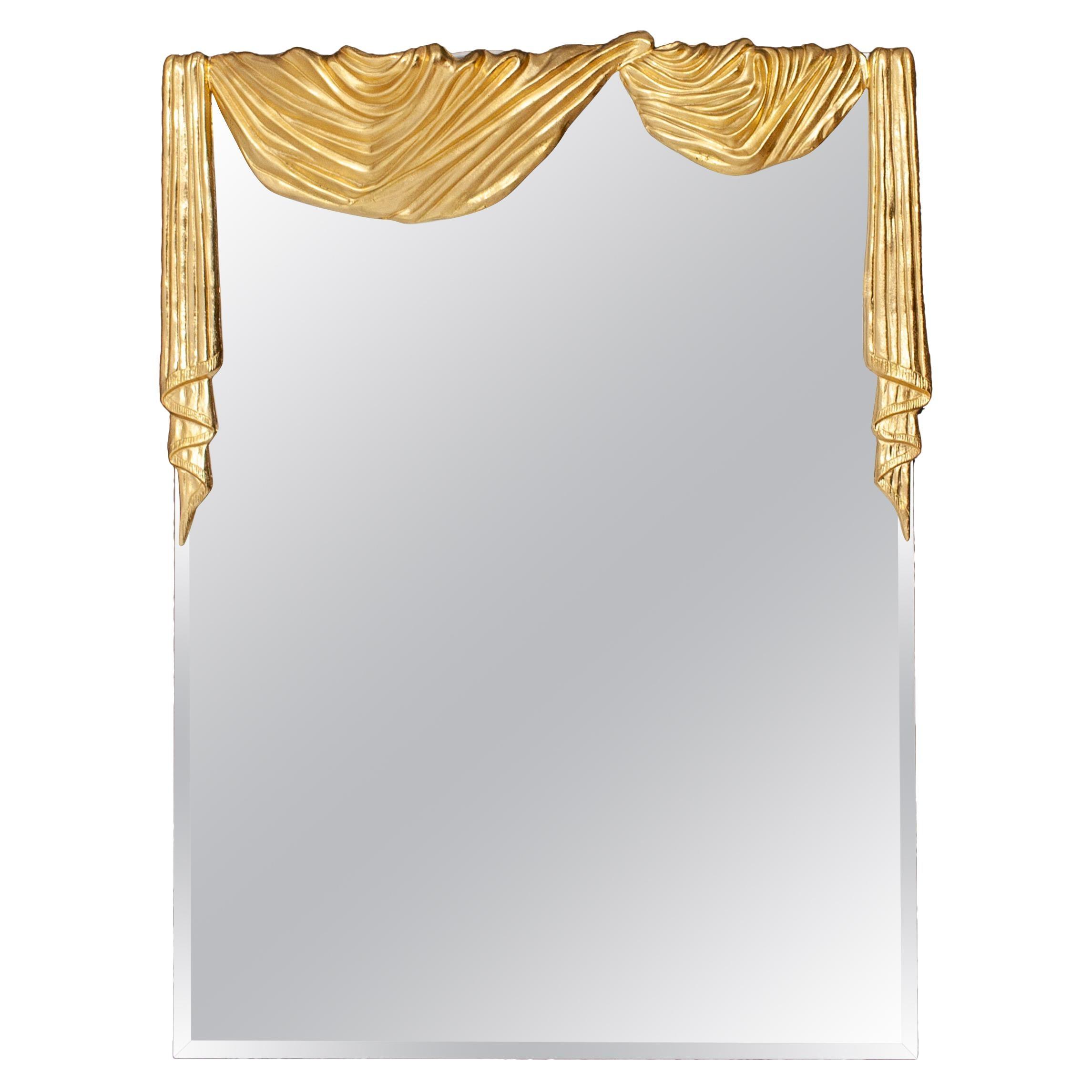 Hollywood Regency Bronze Drapery Wall Mirror