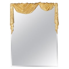 Hollywood Regency Bronze Drapery Wall Mirror