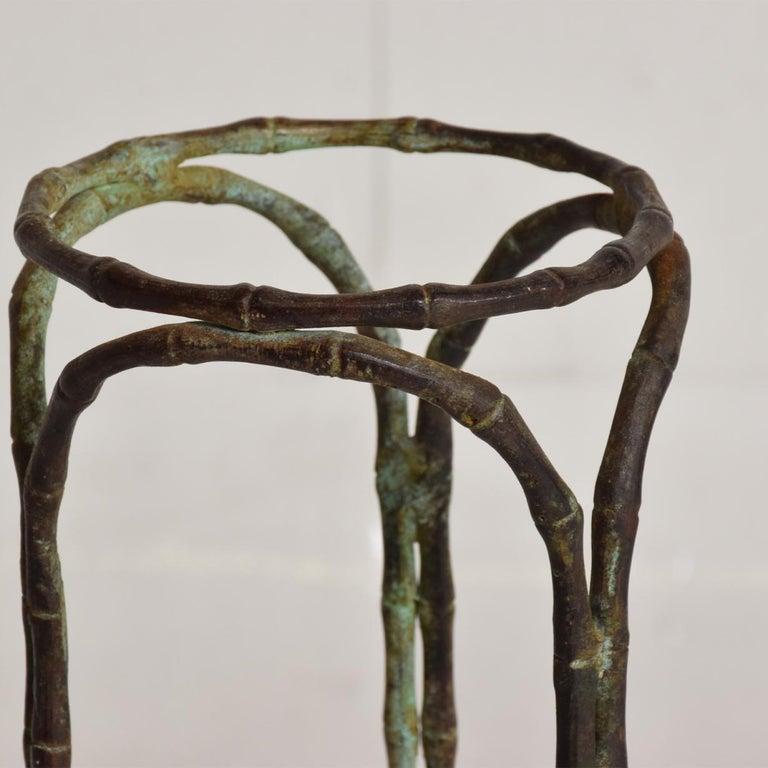 Art Nouveau Hollywood Regency Bronze Faux Bamboo Pedestal Vase Planter Garden Element For Sale
