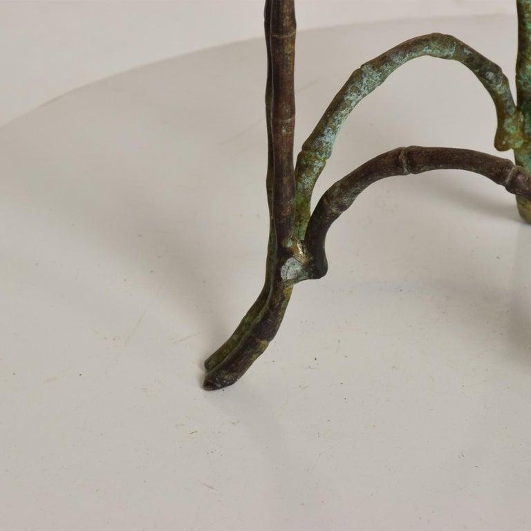 Patinated Hollywood Regency Bronze Faux Bamboo Pedestal Vase Planter Garden Element For Sale