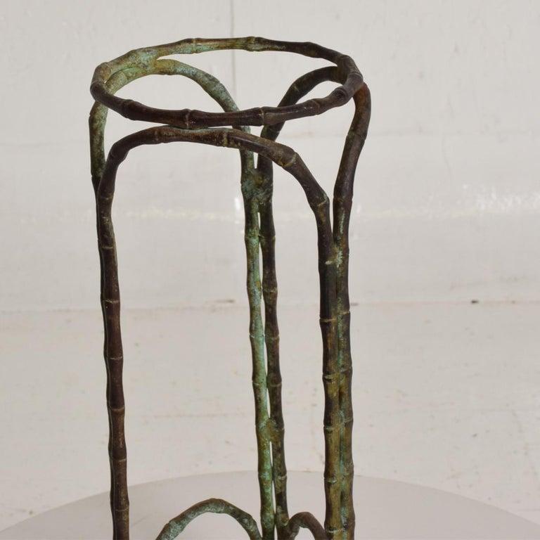 Mid-20th Century Hollywood Regency Bronze Faux Bamboo Pedestal Vase Planter Garden Element For Sale