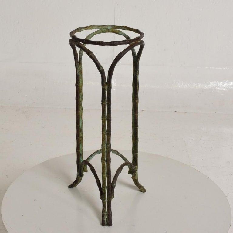 Hollywood Regency Bronze Faux Bamboo Pedestal Vase Planter Garden Element For Sale 1