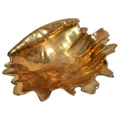 Hollywood Regency Bronze Footed Nautical Seashell Catchall, Bowl, Raymor, Italy