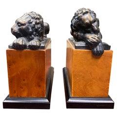 Hollywood Regency Bronze Lion Bookends