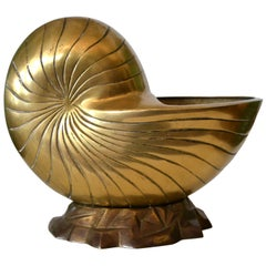 Hollywood Regency Bronze Nautical Seashell Footed Planter