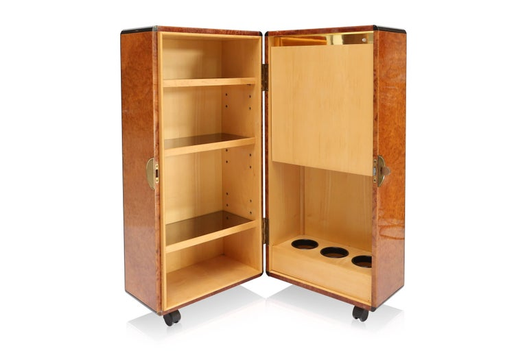 Lacquered Hollywood Regency Burl and Brass Dry Bar For Sale