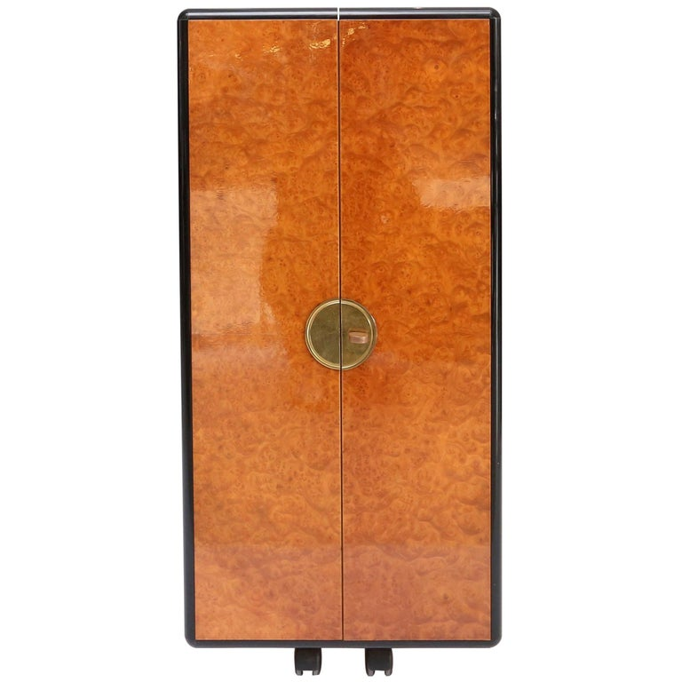 Hollywood Regency Burl and Brass Dry Bar For Sale