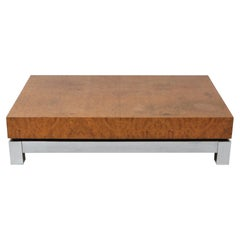 Jean Claude Mahey Burl and Chrome Coffee Table