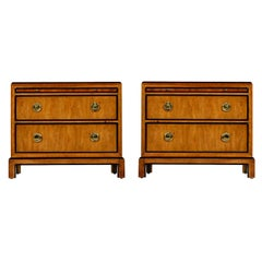 Hollywood Regency Burl Wood and Brass Drexel Heritage Chinoiserie Nightstands