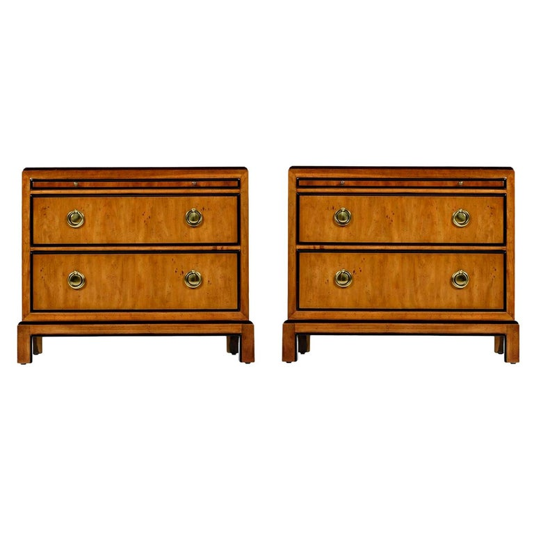 Hollywood Regency Burl Wood and Brass Drexel Heritage Chinoiserie Nightstands For Sale