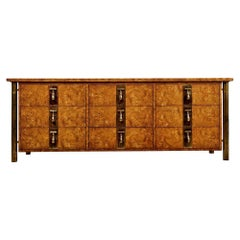 Hollywood Regency Burl Wood and Brass Mastercraft Dresser Credenza