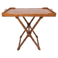 Hollywood Regency Burl Wood Butler's Tray, Convertible to Coffee Table