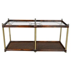 Hollywood Regency Campaign Chinoiserie Faux Bamboo Cane & Glass Top Sofa Table