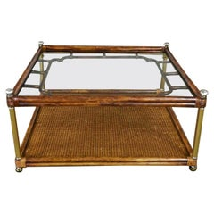 Hollywood Regency Campaign Chinoiserie Style Faux Bamboo Cane & Glass Top Coffee