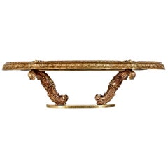Hollywood Regency Capiz Shell Gilt Brass Italian Florentine Style Coffee Table