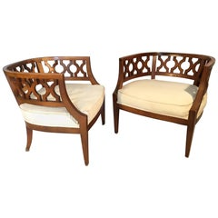 Hollywood Regency Carved Barrel Chairs after Dorothy Draper, a Pair