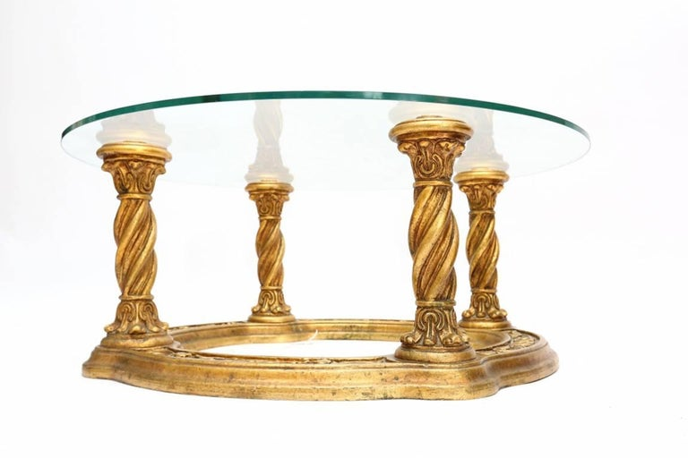 Baroque Hollywood Regency Carved Giltwood Coffee Table For Sale
