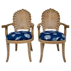 Hollywood Regency Carved Oak Shell Bergère Chairs, a Pair
