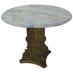 Hollywood Regency Carved Wood Gilt Base with Marble Top