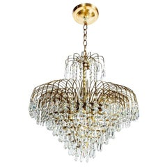 Hollywood Regency Cascading Waterfall Cut Crystal & Brass Chandelier circa 1950s
