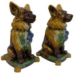 Hollywood Regency Ceramic Dog Statues, a Pair