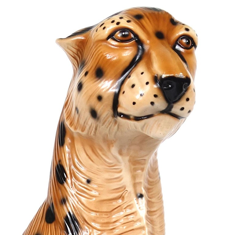 Hollywood Regency Ceramic Jaguar Attributed to Ronzan For Sale 5