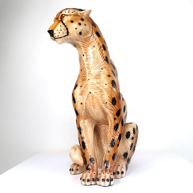 Italian Hollywood Regency Ceramic Jaguar Attributed to Ronzan For Sale