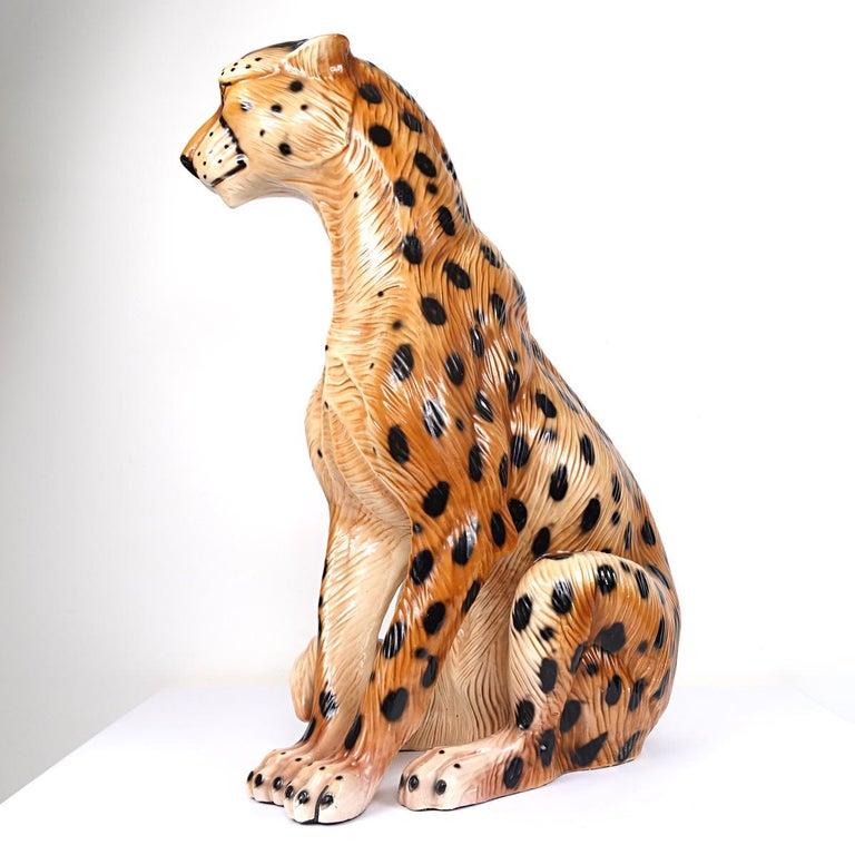 Hollywood Regency Ceramic Jaguar Attributed to Ronzan In Good Condition For Sale In Doornspijk, NL