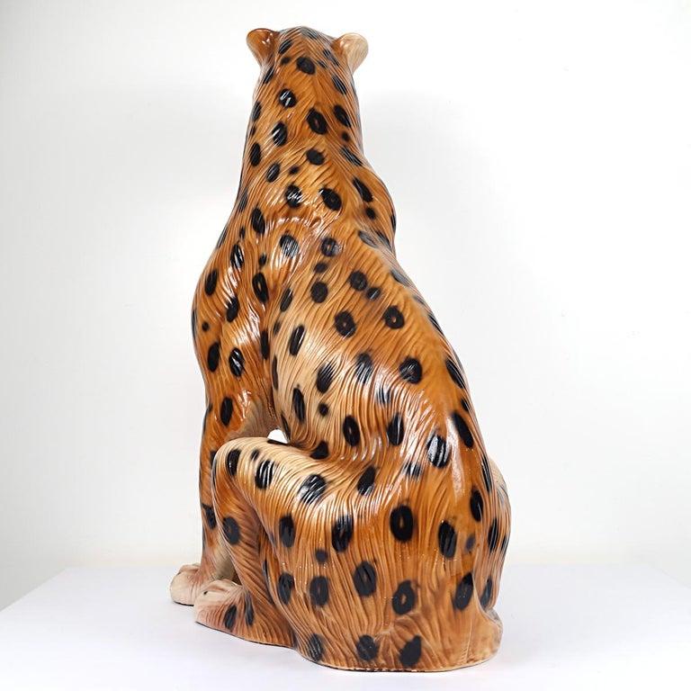 Hollywood Regency Ceramic Jaguar Attributed to Ronzan For Sale 1