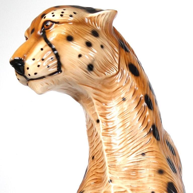 Hollywood Regency Ceramic Jaguar Attributed to Ronzan For Sale 4