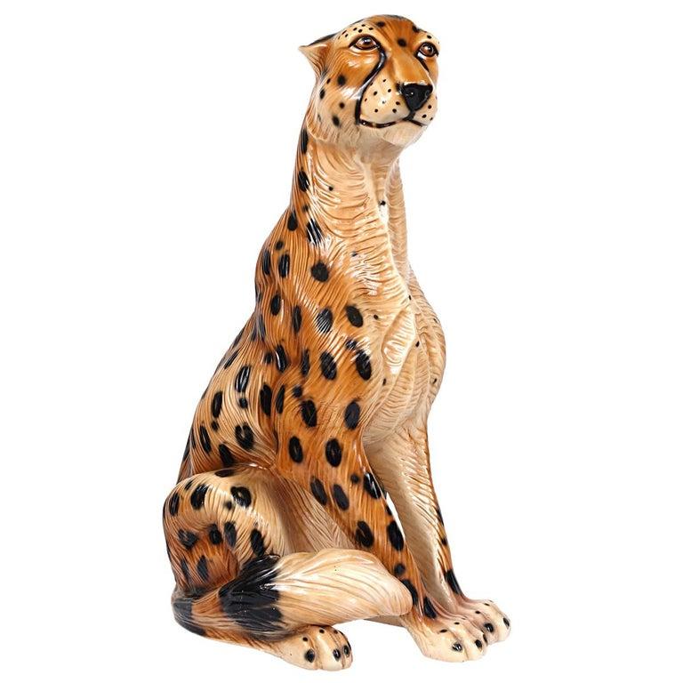 Hollywood Regency Ceramic Jaguar Attributed to Ronzan For Sale