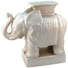Hollywood Regency Ceramic White Elephant Garden Stool