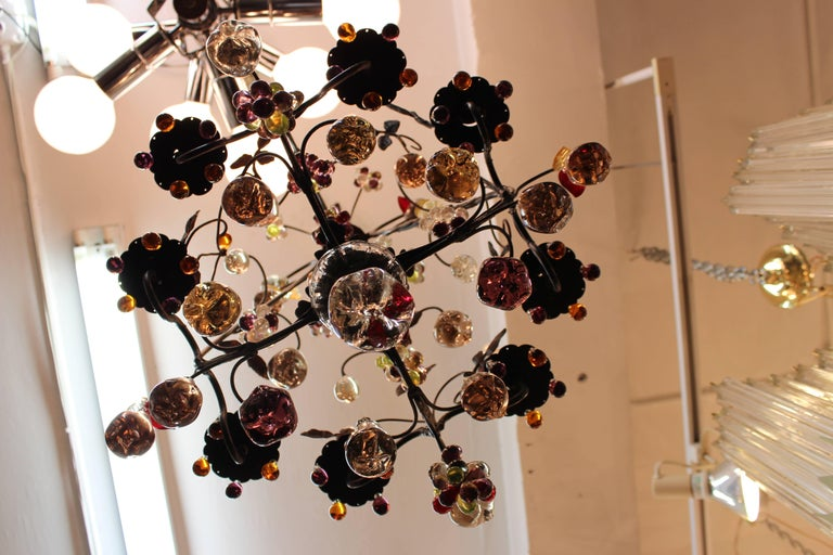 Hollywood Regency Chandelier with Colorful Fruit Crystal Pendants 5