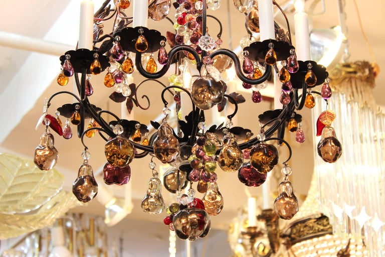 Hollywood Regency Chandelier with Colorful Fruit Crystal Pendants In Good Condition In New York, NY