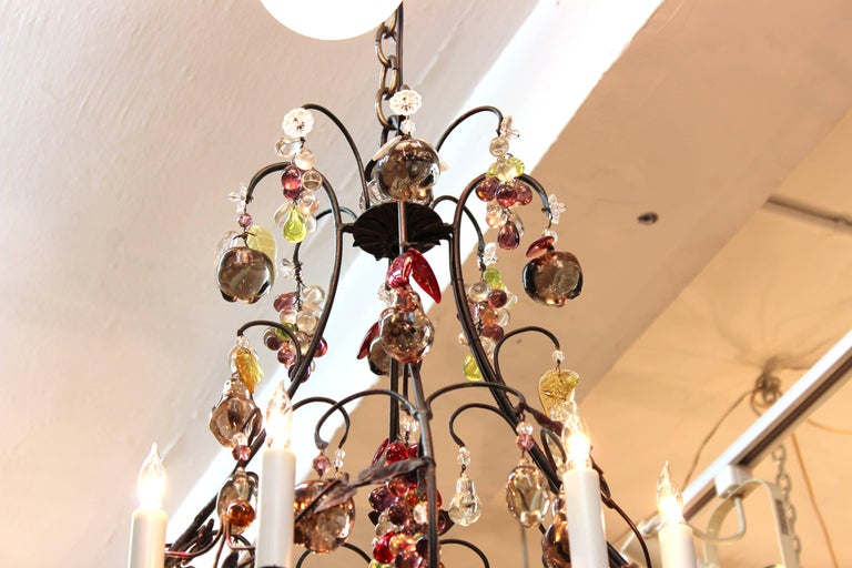 20th Century Hollywood Regency Chandelier with Colorful Fruit Crystal Pendants