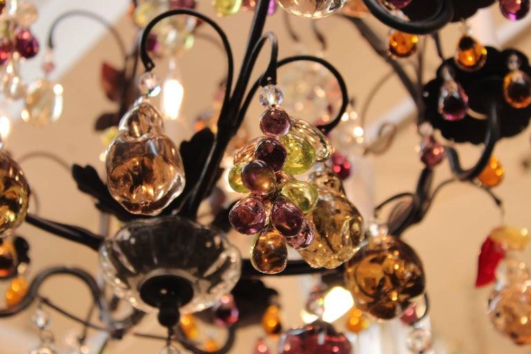 Metal Hollywood Regency Chandelier with Colorful Fruit Crystal Pendants