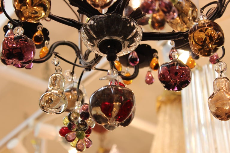 Hollywood Regency Chandelier with Colorful Fruit Crystal Pendants 1