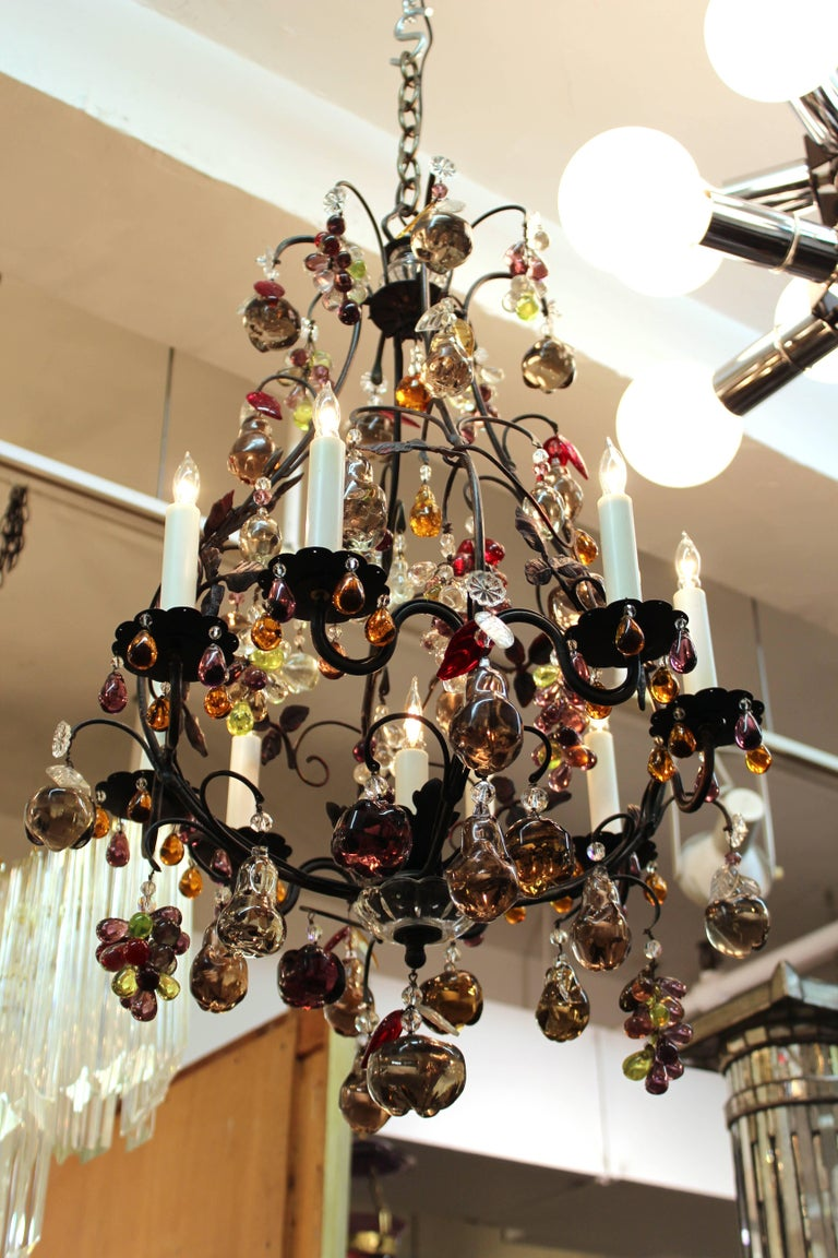 Hollywood Regency Chandelier with Colorful Fruit Crystal Pendants 2