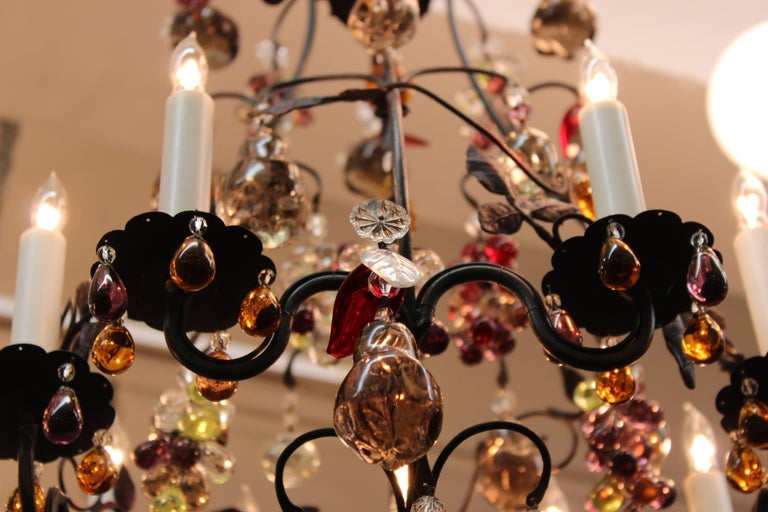 Hollywood Regency Chandelier with Colorful Fruit Crystal Pendants 3