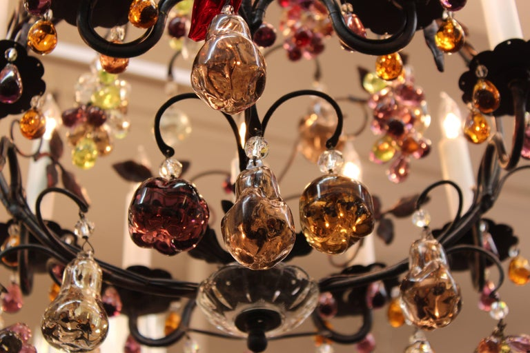 Hollywood Regency Chandelier with Colorful Fruit Crystal Pendants 4